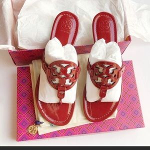 ✨NEW✨Tory Burch Miller Sandals In Dark Redstone